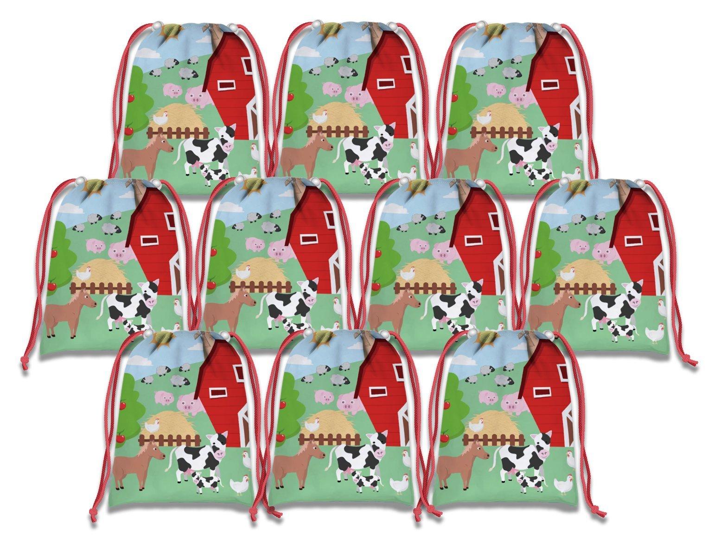 Farm Animals Barnyard Drawstring Bags Kids Birthday Party Supplies Favor Bags 10 Pack