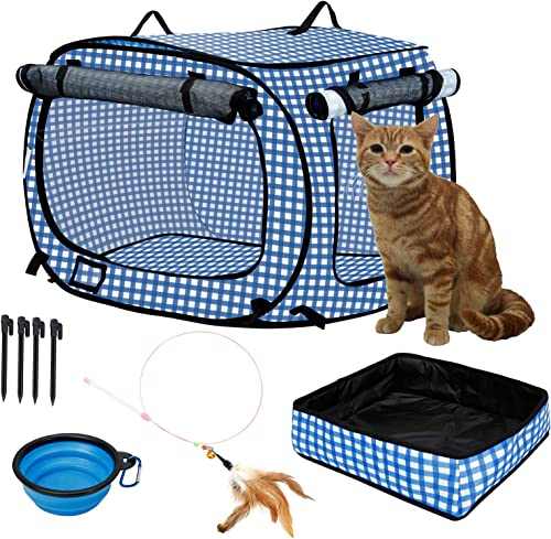 confote Indoor Outdoor Crate Pets, Collapsible Portable Cat Cage Kennel Large Blue 24 x16 x15 Portable Kennel Carrier and Feeding Kit Collection