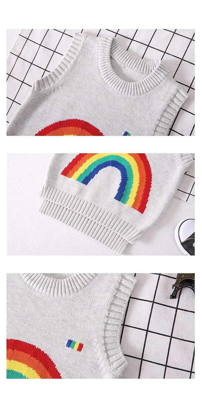 AIKSSOO Toddlers Little Boy Girl Sweater Vest Rainbow Pattern Knit Waistcoat