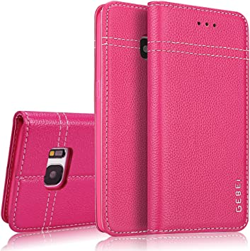 Étui en Cuir véritable pour Samsung Galaxy S7,Gebei Type.Coque de téléphone Mobile,de Type Pliable et Gaine de Protection de Contact .la Boucle ...