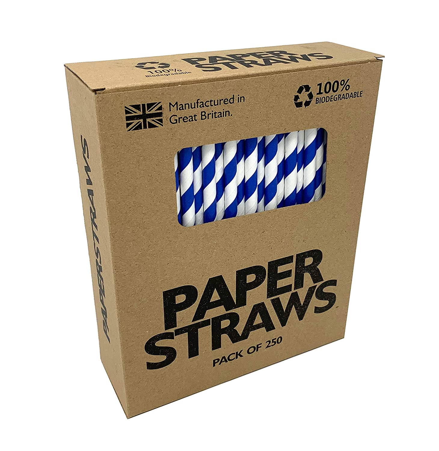 Cold Drinks /& Juices Suitable for All Occasions Including Birthdays /& Parties Pack of 250 Solid Black Paper Straws - British Made Biodegradable Paper Drinking Straws Ideal for Cocktails