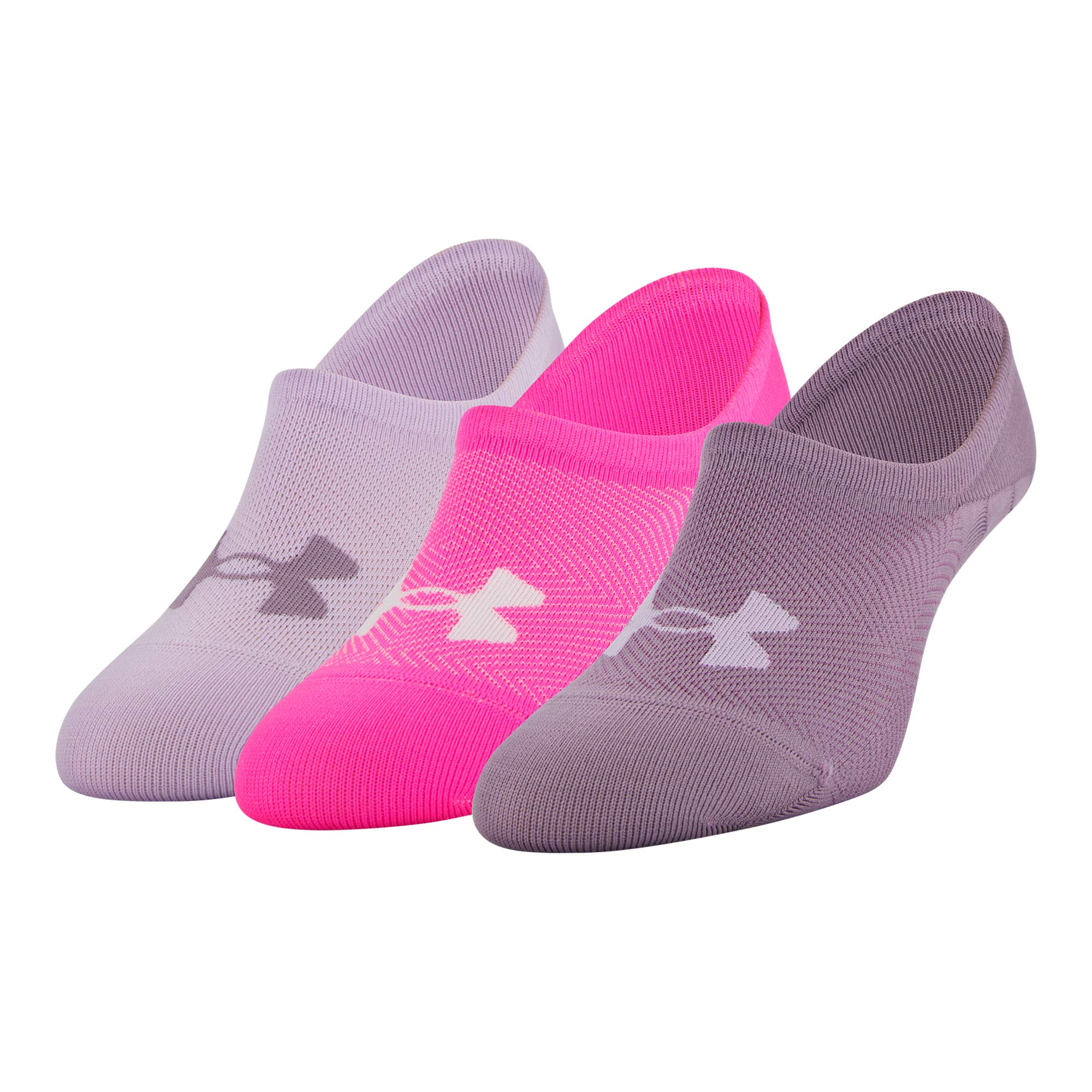 Under Armour Women's Essential Ultra Low Socks, 3-Pair, Purple Pink Assorted, Shoe Size: 6-9 by Under Armour