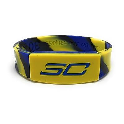 """SportsBraceletsPro REVERSIBLE Wristband ADULT/TEEN 7.7"""" Size Bracelet (Curry 7.7"""" Camo): Clothing"""