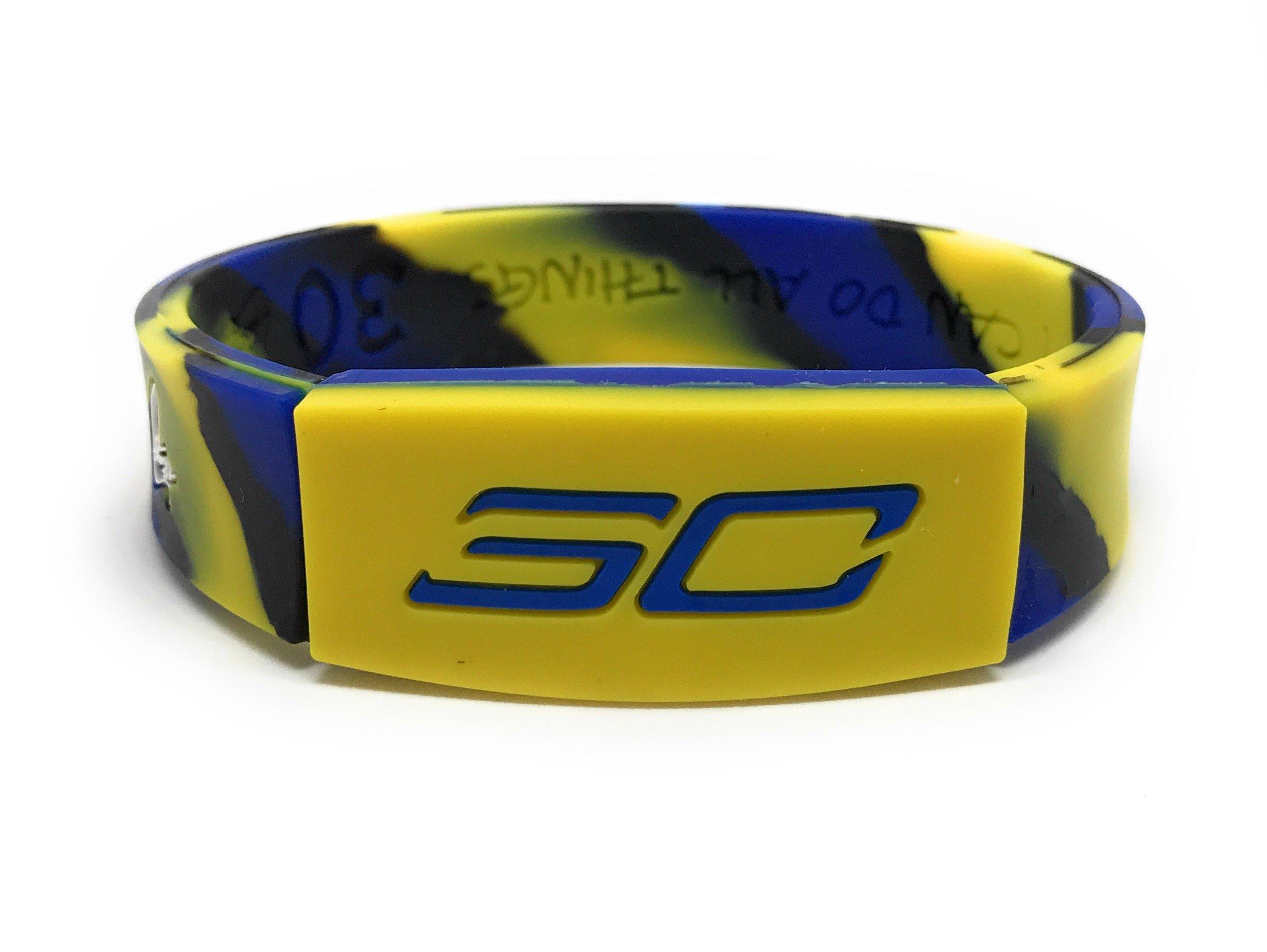 SportsBraceletsPro REVERSIBLE Wristband ADULT/TEEN 7.7'' Size Bracelet (Curry 7.7'' Camo)