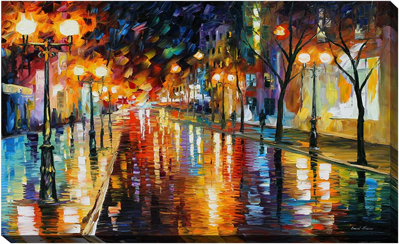 Amazon Com Picture Perfect International Giclee Stretched Wall Art By Leonid Afremov Night Perspective Artists Canvas 28 X 48 X 1 5 Posters Prints