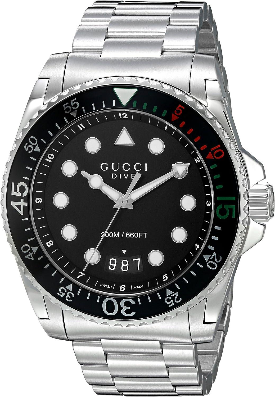 Gucci–Diver–Reloj de Pulsera analógico automático para Hombre Acero Inoxidable ya136208