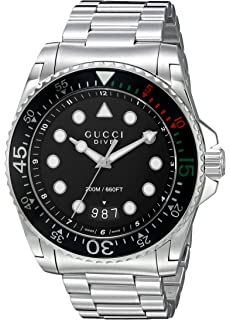 Gucci Swiss Quartz Stainless Steel Dress Silver-Toned Mens Watch(Model: YA136208)