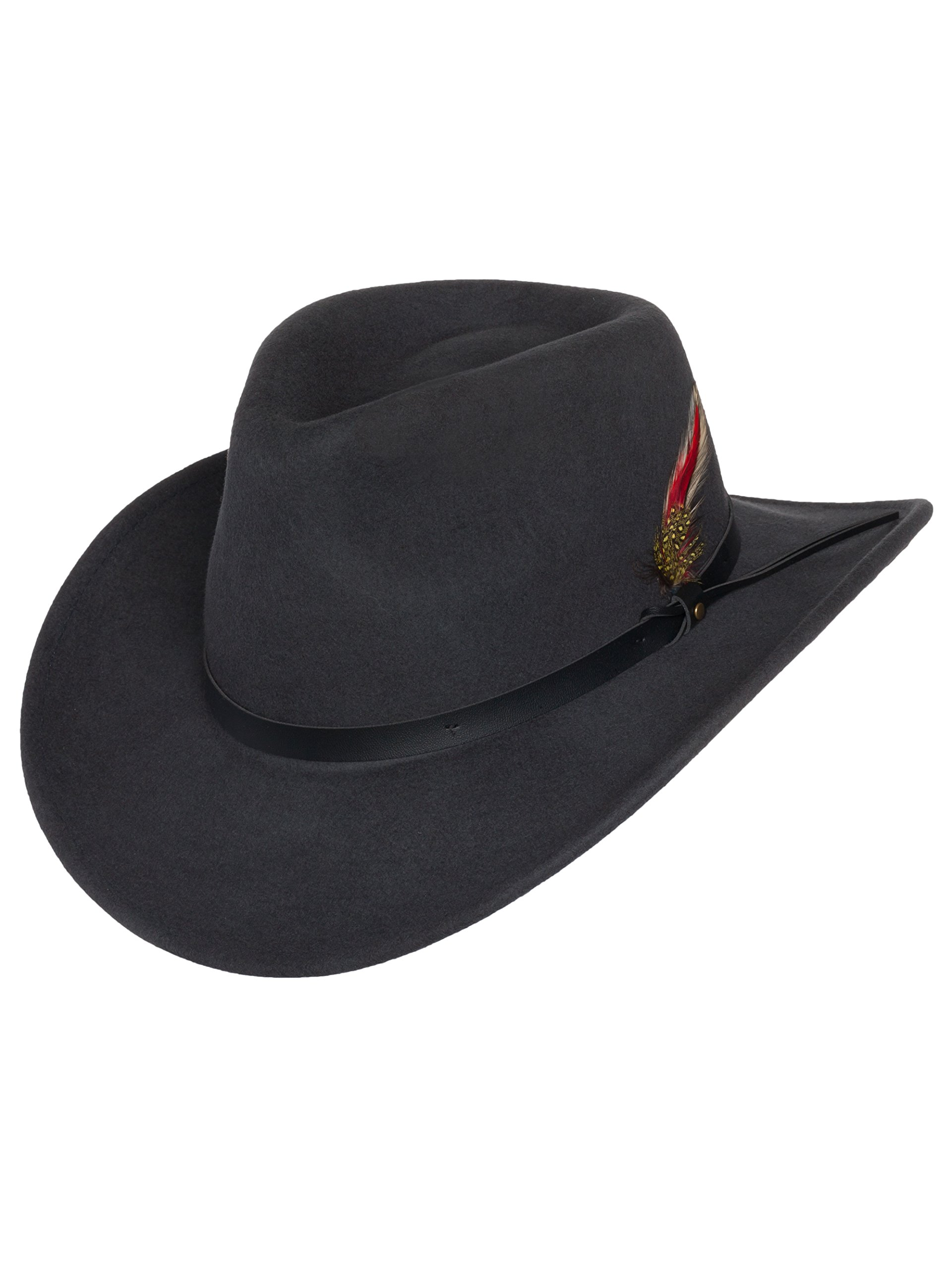 6de3ae6b182 Men s Outback Wool Cowboy Hat Montana Gray Crushable Western Felt by Silver  Canyon