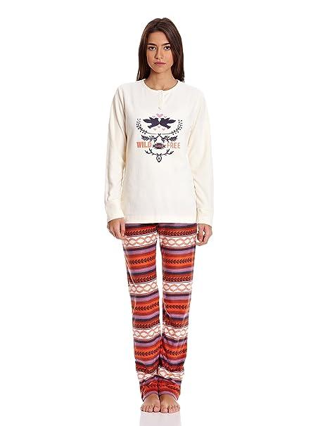 GISELA Pijama Camiseta y Pantalón Crudo M