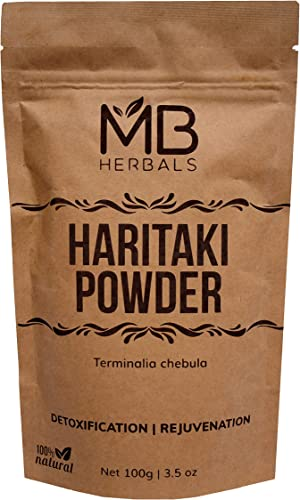 MB Herbals Haritaki Powder 100g 3.5 oz Terminalia chebula Harde Chebulic Myrobalan Natural AntiOxidant Rejuvenation Detoxification Anti-Ageing Herb Vata Kapha and Pitta Balancer