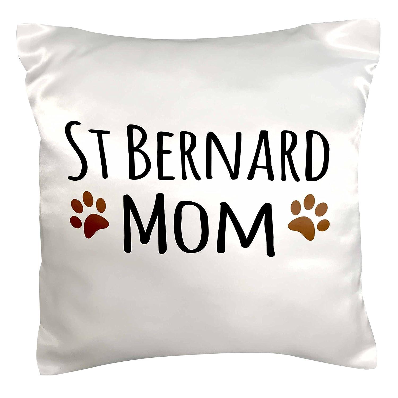 3dRose pc_154185_1 St Bernard Dog Mom Saint Doggie x Breed Brown Muddy Paw Prints Doggy Lover Pet Owner Love 枕カバー 16インチx16インチ 16\  B017CA0S8Y