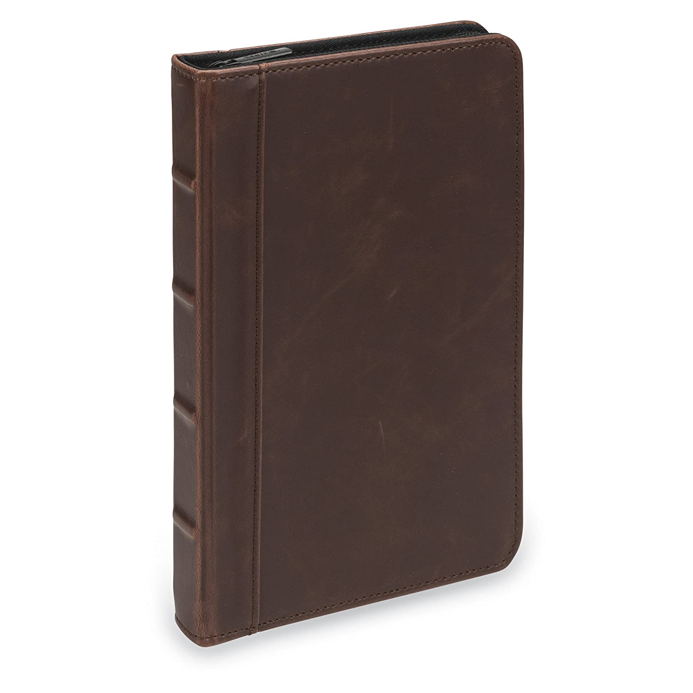 Samsill Small Vintage Portfolio/Zipper Faux Leather Portfolio, Book Style Hardback Design, Business & Interview Padfolio Organizer, 5 x 8 Writing Pad, Dark Brown