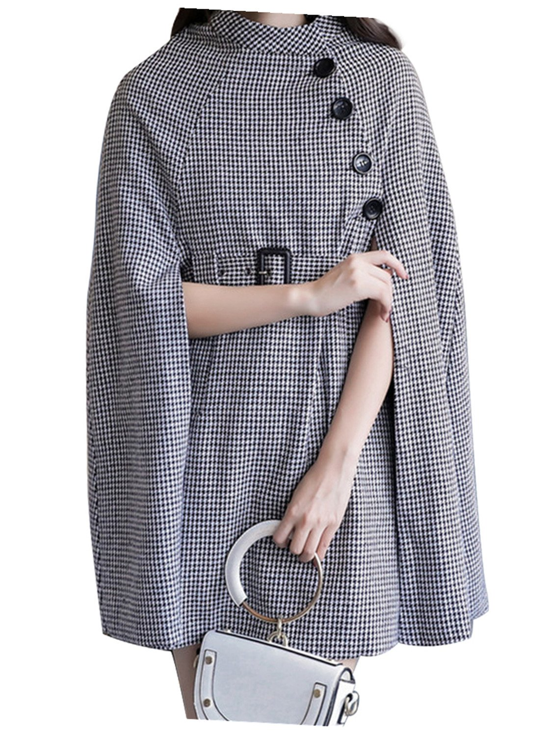 Black Houndstooth Belted Waist Cape Coat with Side Pockets S