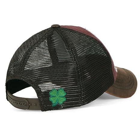 ililily Four Leaf Clover Patch Faux Leather Brim Trucker Hat Baseball Cap, Brown: Amazon.es: Ropa y accesorios