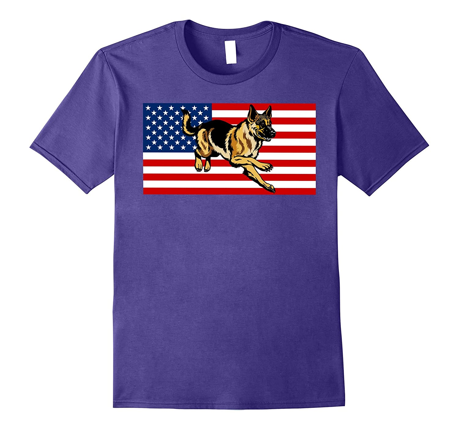 American Flag German shepherd T-shirt 4 Of July Gifts Proud-PL