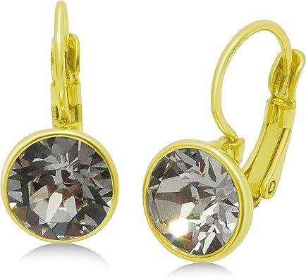 Drop Earrings Natural Crystal Quartz Earrings 18K Gold Plated Earrings Dangle Earrings Unique Stone Earrings Bezel Set Earrings
