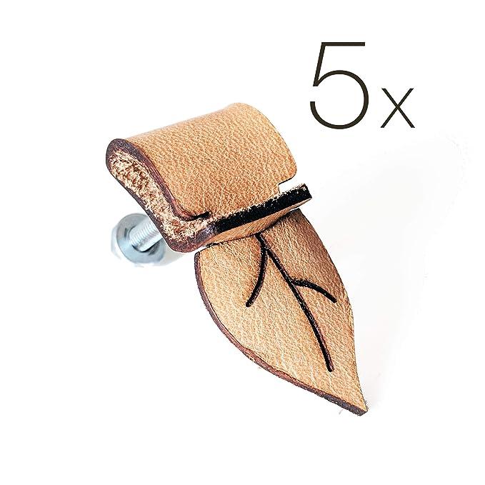 5 tiradores de piel auténtica para bricolaje, diseño de hojas, para cajones, archivadores, armarios y artículos hechos a mano, mango de piel vintage: ...