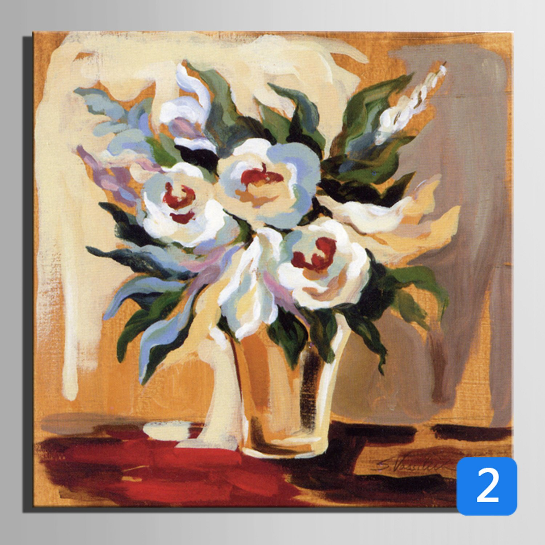 OPZLL Botellas, flores pintura al óleo pintada a mano decoración portaretrato, restaurante den pintura decorativa , 2: Amazon.es: Hogar