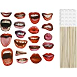 20 PCS Photo Booth Props Funny Red Sexy Lips Mouth Accessories DIY Kit for Party Wedding Chiristmas Birthday Reunions Halloween Graduation Festivals