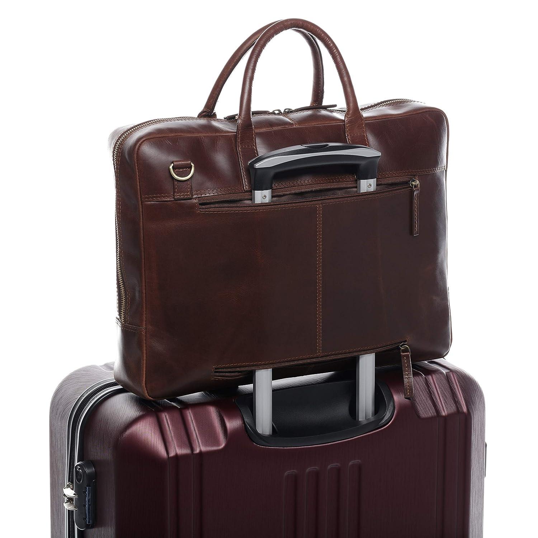 d4813739522a5 ... SID   VAIN Laptoptasche Leder Dixon groß Businesstasche 15 Zoll Laptop  Umhängetasche Aktentasche bis zu 15 ...
