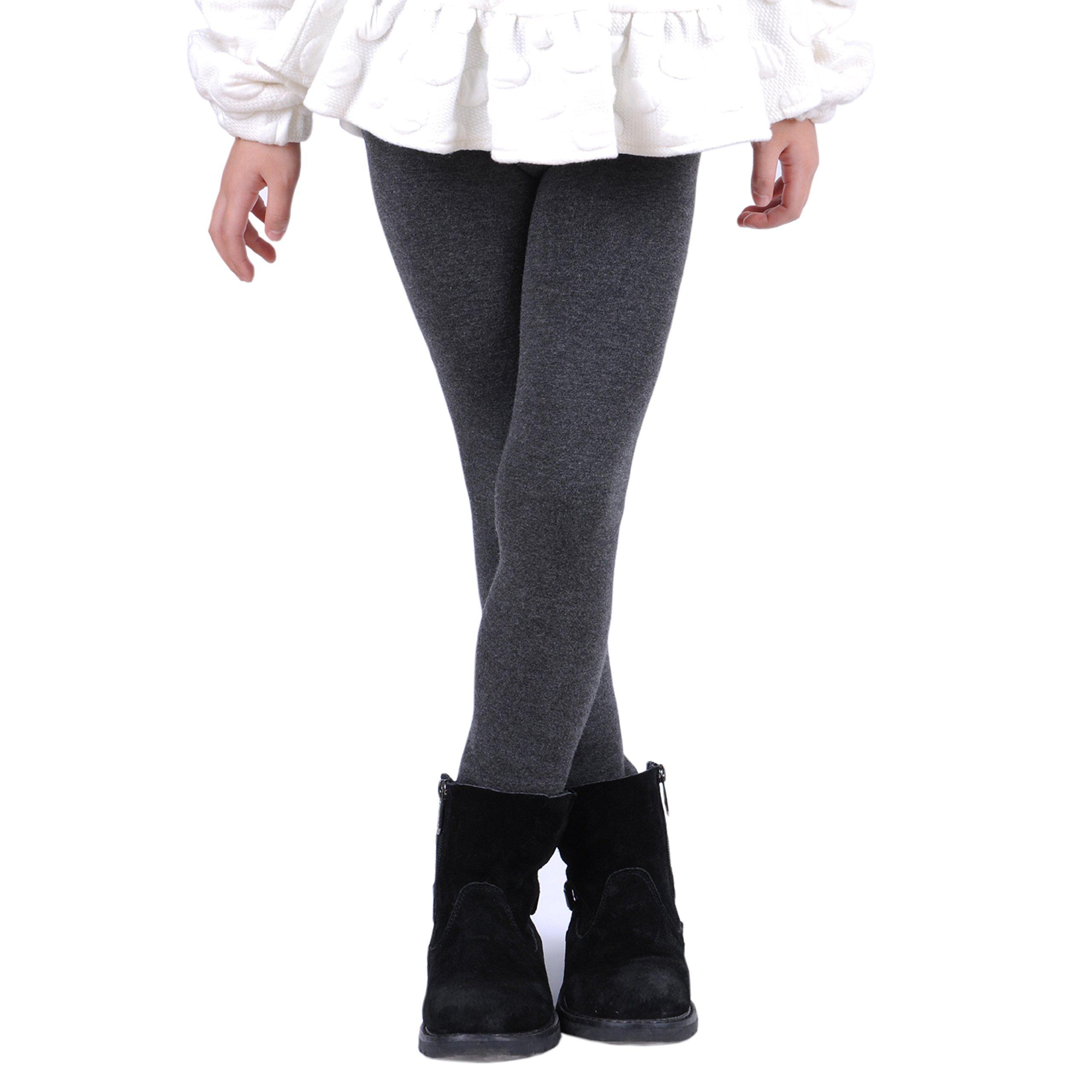 Innabella Girls Winter Cotton Melange Fleece Lined Warm Velvet Leggings (7-9 Years, Melange Grey)