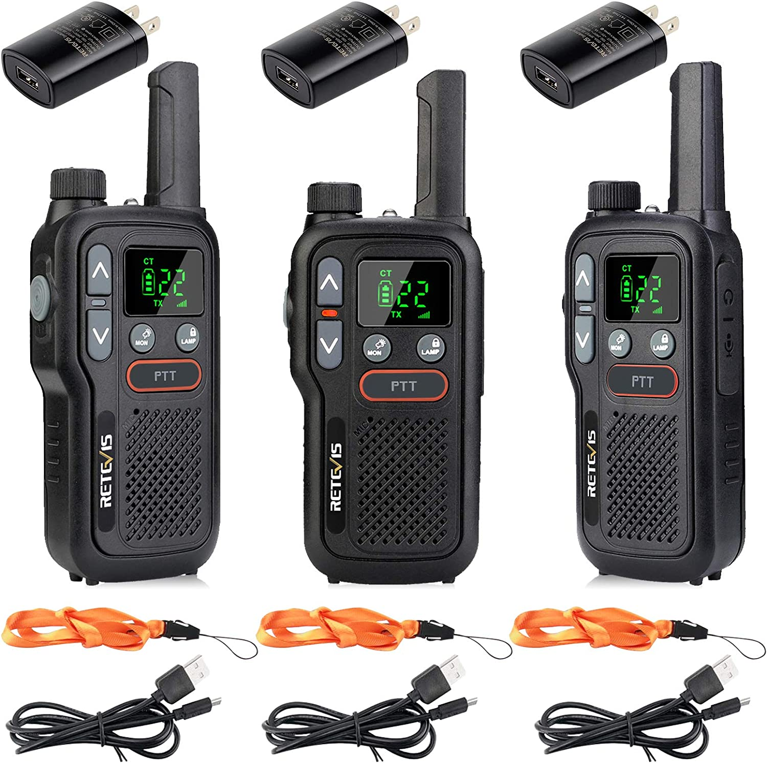 Retevis RB18 Walkie Talkie Adult Rechargeable,Long Range Two Way Radio FRS,NOAA Weather Alert Flashlight Dual PTT VOX,for Outdoor Cruise Camping(3 Pack)