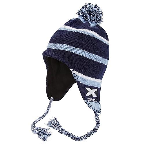 Gorro térmico estilo peruano con diseño de la bandera de Escocia en azul para mujer