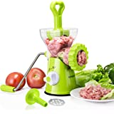 Meat Grinder,Stainless Steel Plate,Additional Suction Base,Hand Crank for All Meat,Dried Cooked Food