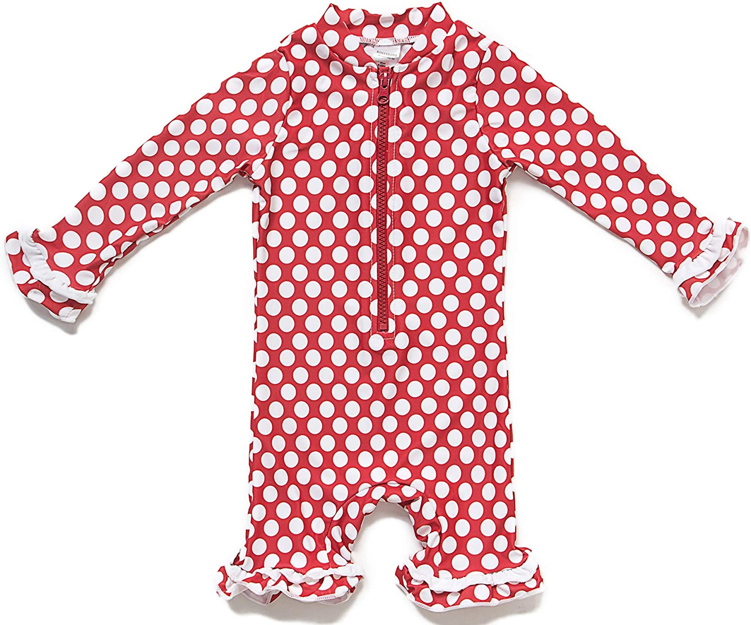 Baby Girls Sunsuit UPF 50+ Sun Protection One Pieces Long Sleeves Swimwear with Bucket Hat(Red Point,24 36Months)