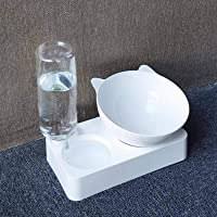 Pet Bowl Automatic Feeder Dog Cat Food Bowl with Water Dispenser Double Bowl Drinking Raised Stand Dish Bowls with Pet…