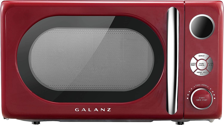 Galanz GLCMKA07RDR-07 Retro 0.7 cu. Ft. 700-Watt Countertop Microwave, Hot Rod Red
