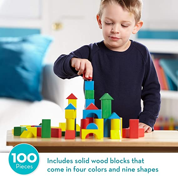 Homeware Real Wood Toys Classic 36 Piece Color Unit Building Blocks Take-Along W