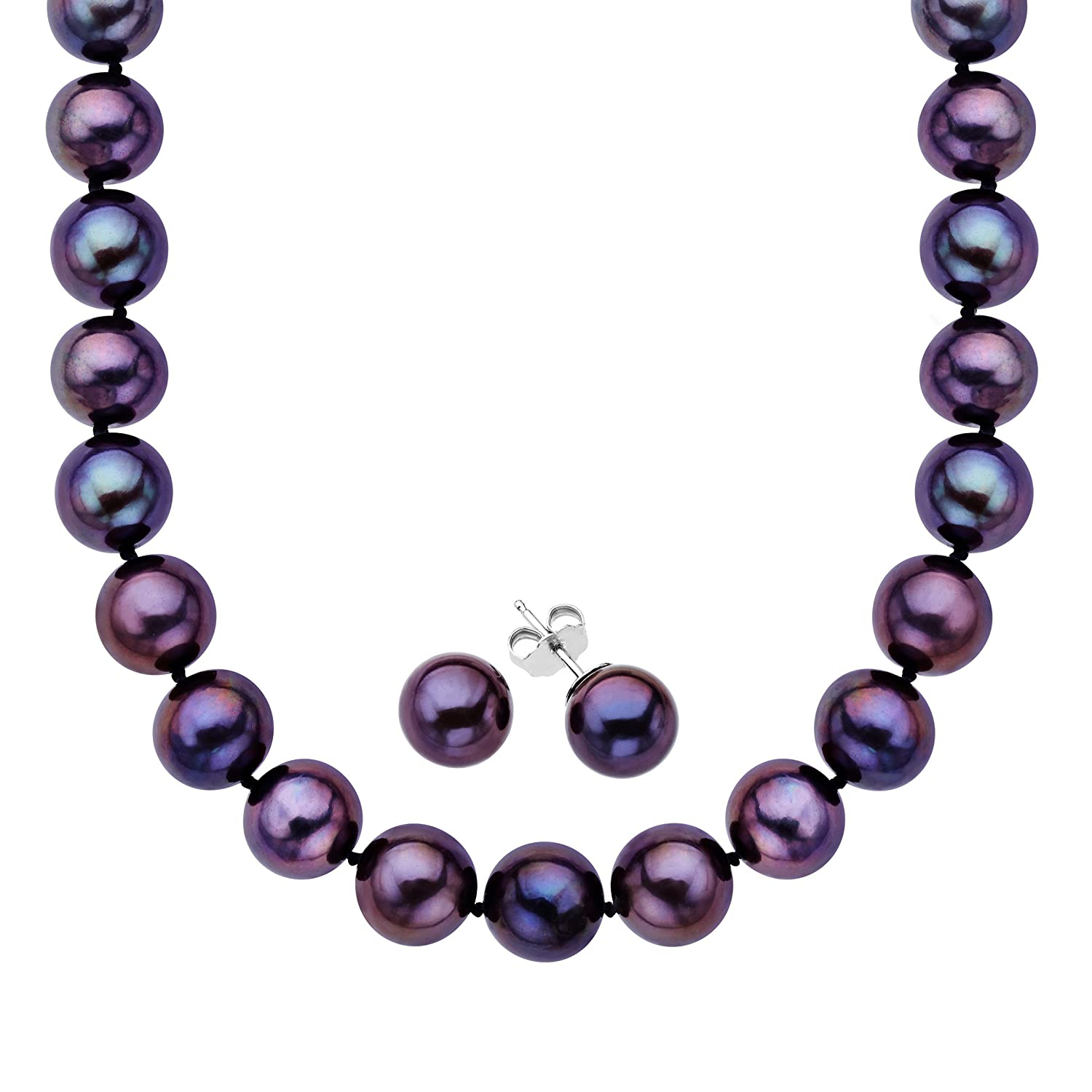 Black Freshwater Pearl Necklace and Earring Set in Sterling Silver (8.5-10.5mm)