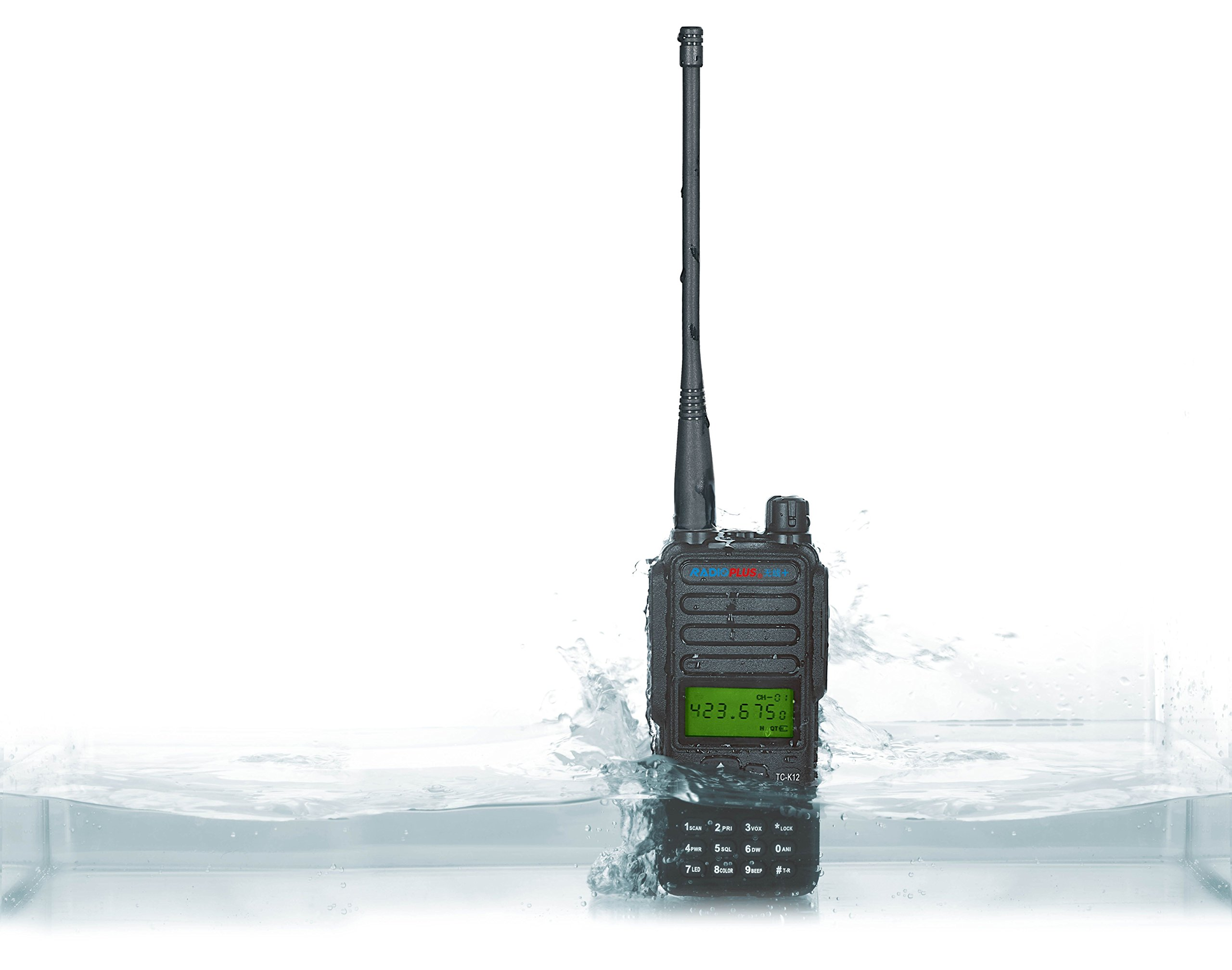 RADIOPLUS TC-K12 400-470MHz UHF Portable Radio 12W High Power Radio Waterproof with Screen Walkie Talkie (Pack of 4)