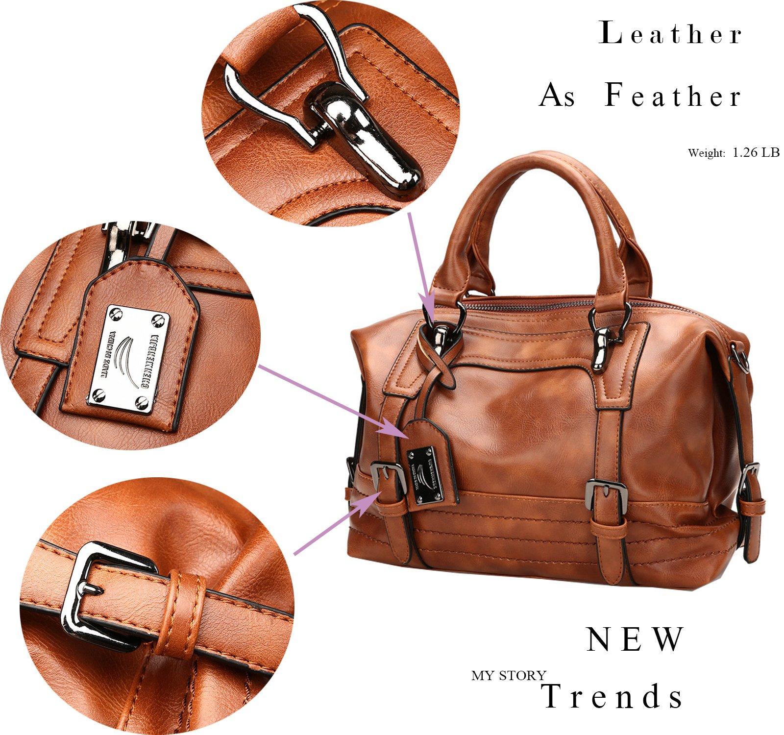 Juilletru Black Women Tote Bags PU Leather Handbags Top Handle Vintage Purse Crossbody Shoulder Bag by Juilletru (Image #2)