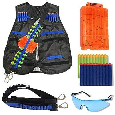 Wishery Tactical Vest for Kids for Nerf Guns N -Strike Elite Series. Nerf Accessories Kit - Darts, Safety Eye Glasses, Bandolier ( Sling ), Adjustable Vest Jacket, Reload Clip for Ammo Storage: Toys & Games