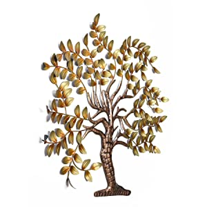 Collectible India Metal Golden Tree of Life Wall Mounted Art Sculpture Decor Hanging Gifts Home Decor (Size 42 x 32 Inches)