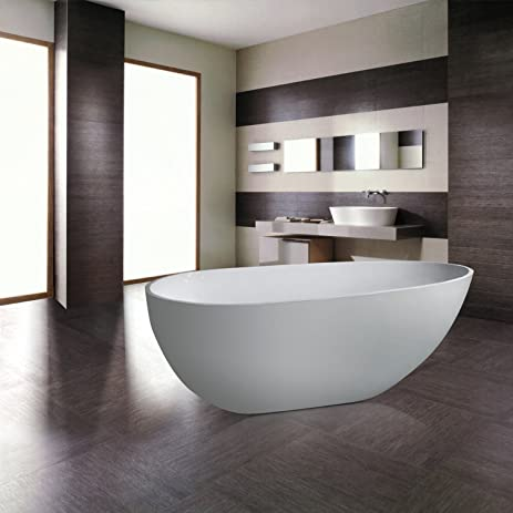 MAYKKE Naples 67 Inches Modern Oval Acrylic Bathtub Freestanding White Tub In Bathroom CUPC Certified
