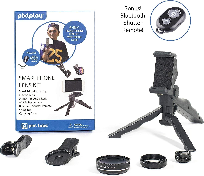 Pixlplay - Kit de Lentes para cámara de Smartphone 6 en 1 para iPhone y Android con trípode/Agarre, Disparador Bluetooth, 3 Lentes (Fisheye + Gran Angular + Macro) y Estuche de Accesorios: Amazon.es: Electrónica