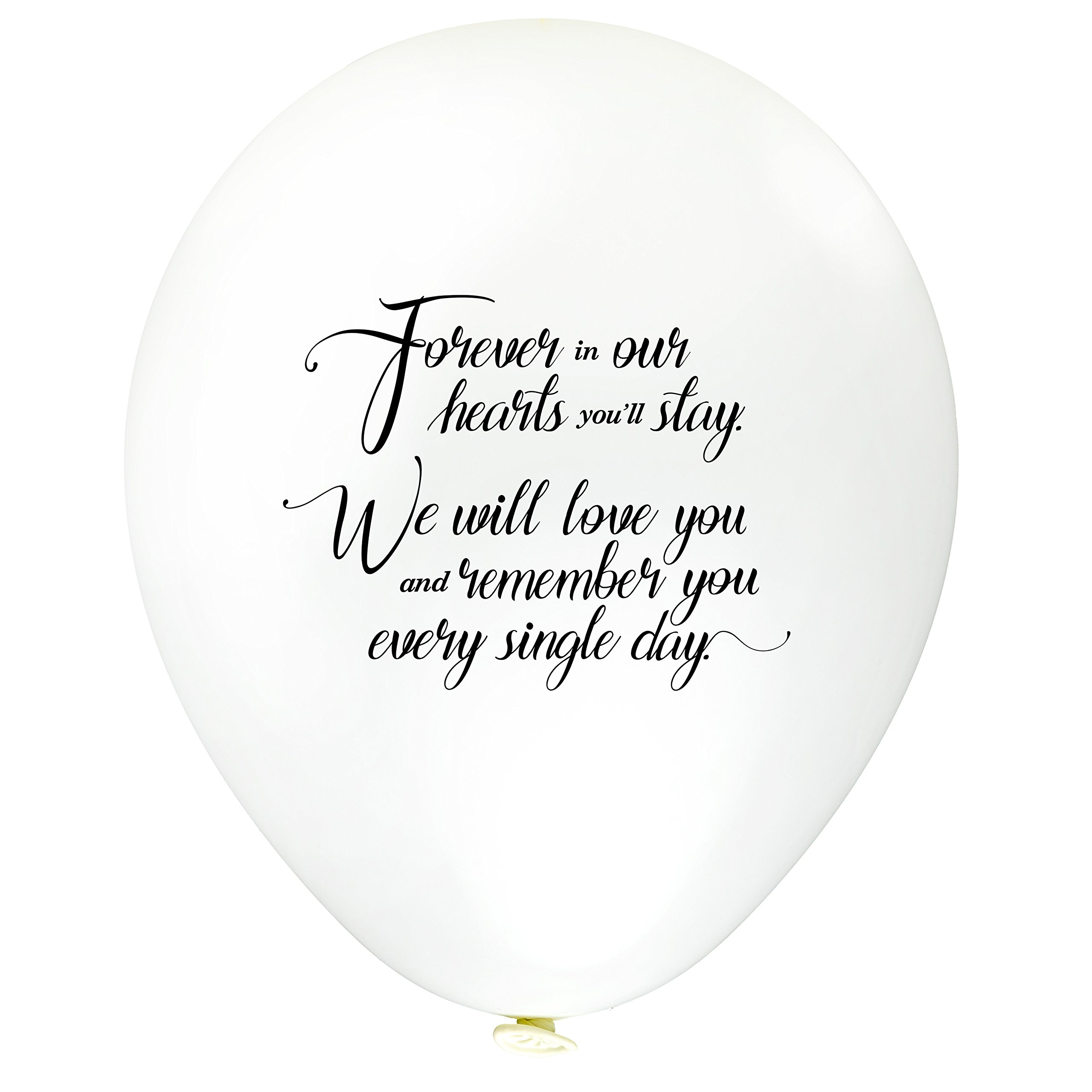 60pc White Remembrance Bereavement Memorial Funeral Biodegradable Helium Quality for Balloon Releases - Personalised'' Forever in Our Hearts You'll Stay, We Will Love.'' - by TOKYO SATURDAY