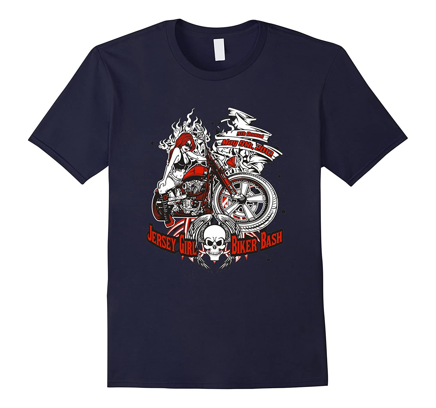 Jersey Girl Biker Bash T Shirts For Women Graphic Tees-BN