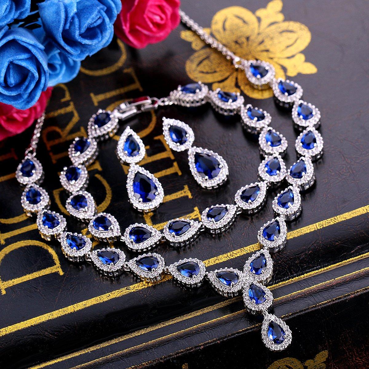 BriLove Women's Wedding Bridal Jewelry Set Y-Necklace Tennis Bracelet Dangle Earrings Set with Teardrop CZ Infinity Figure 8 Sapphire Color Silver-Tone September Birthstone by BriLove (Image #4)