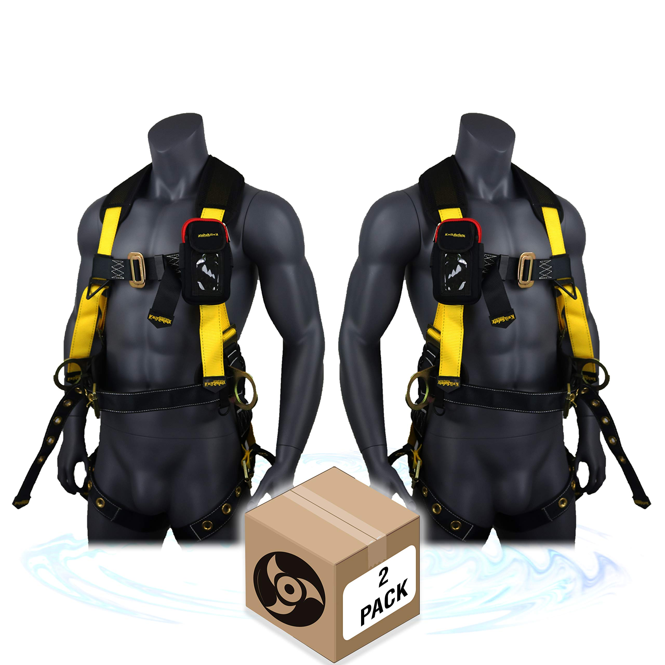 KwikSafety (Charlotte, NC) TYPHOON (2 PACK) ANSI Fall Protection Full Body Safety Harness Personal Protective Equipment Dorsal Ring Side D-Rings Grommet Leg Straps Tool Lanyard Bolt Pouch Construction by KwikSafety