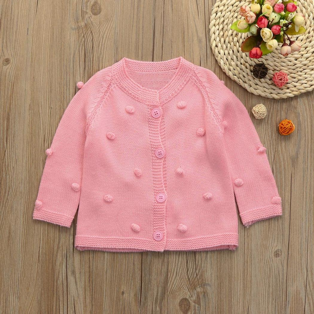 KONFA Baby Girls Solid Color Cardigan Button Knitted Sweater,Suitable For 0-4 Years Old,Fashion Balls Pullovers Tops