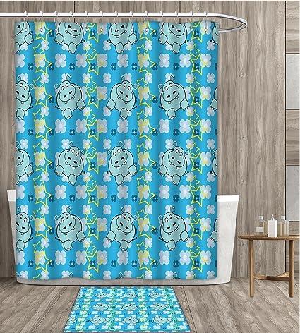 SmllmoonDecor Yellow And Blue Shower Curtain Sets Bathroom Funny Cartoon Hippopotamus With Stars Cute Daisy