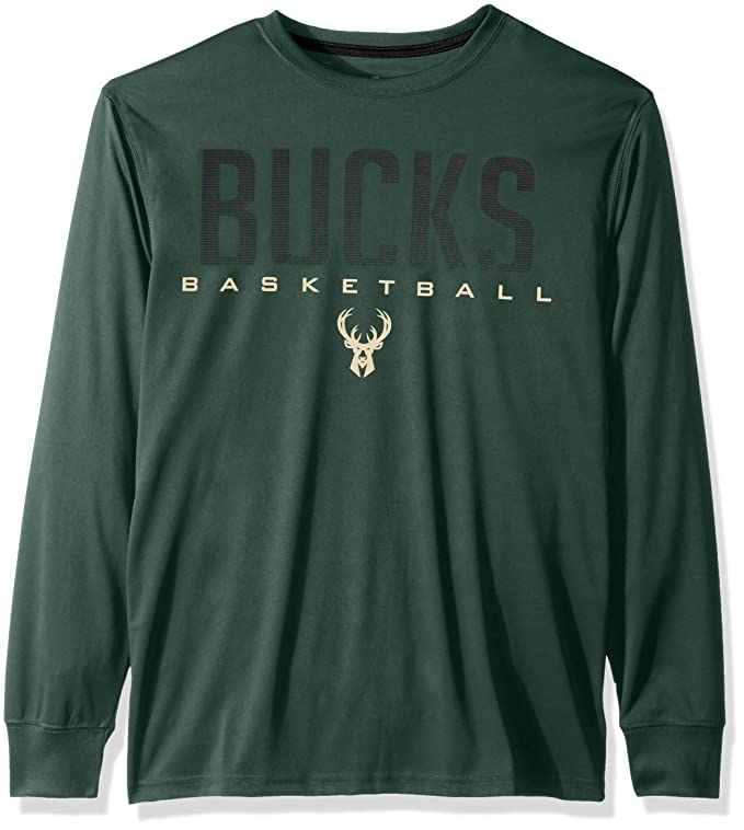 Ultra Game Men's NBA Memphis Grizzlies T-Shirt Athletic Quick Dry Long Sleeve Tee Shirt, Milwaukee Bucks, Team Color, Large