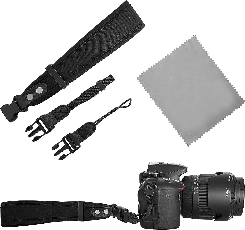 Neopren Kamera Handschlaufe Schwarz 2x Kamera