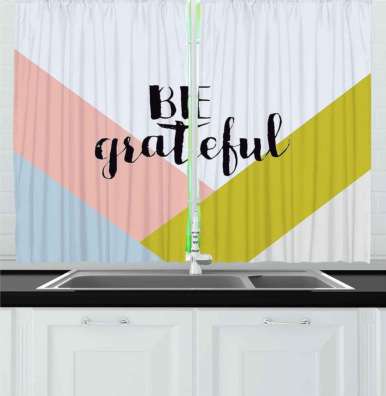Amazon Com Lunarable Be Grateful Kitchen Curtains