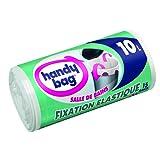 Handy Bag 2 Rouleaux de 15 Sacs Poubelle 10 L, Pour Salle de Bains, Fixation Élastique, Résistant, Anti-Fuites, 40 x 40 cm, Blanc