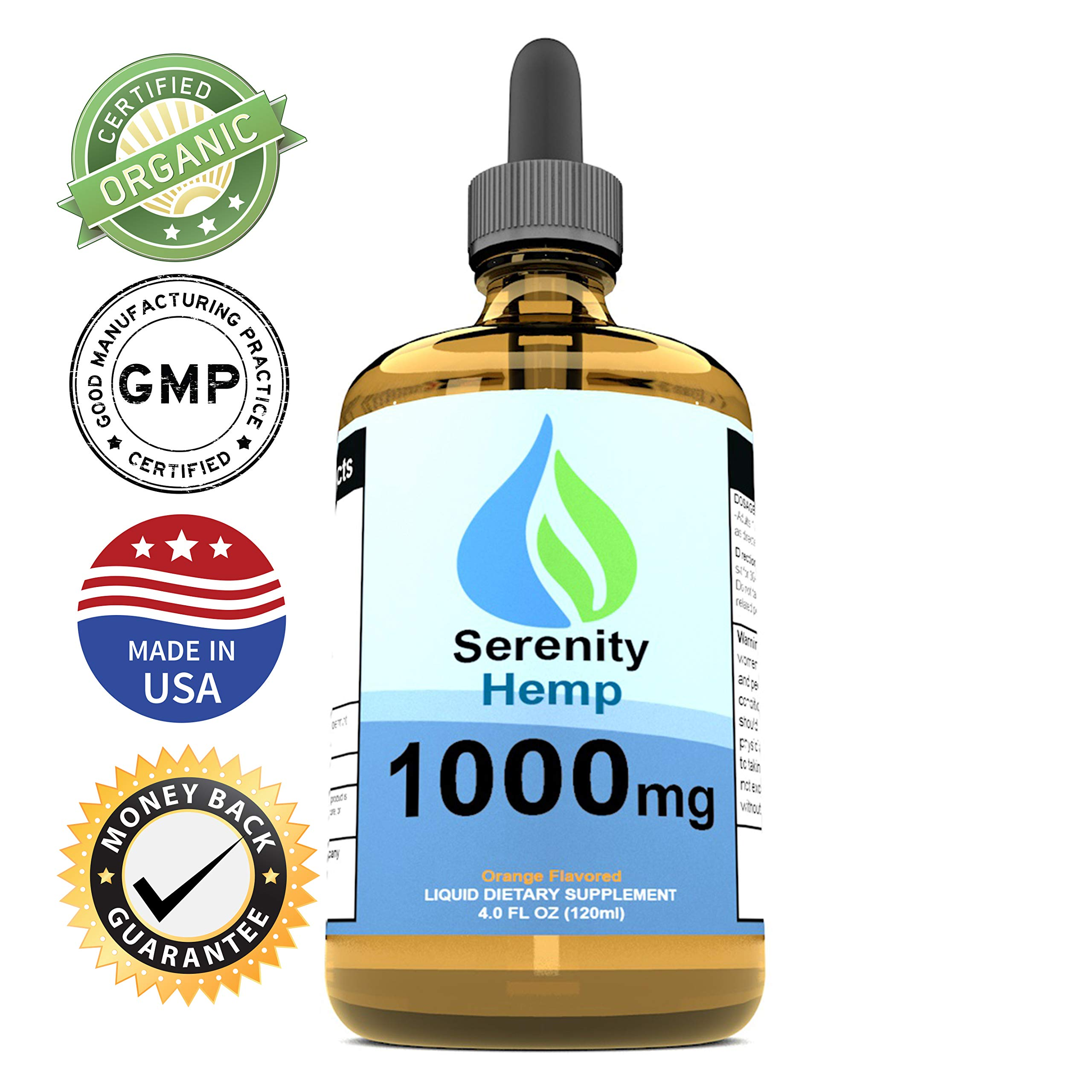 Serenity Hemp Oil - 4 fl oz 1000 mg (Orange) - Certified Organic - Relief for Stress, Inflammation, Pain, Sleep, Anxiety, Depression, Nausea - Rich in Vitamin E, Vitamin B, Omega 3,6,9 and More!